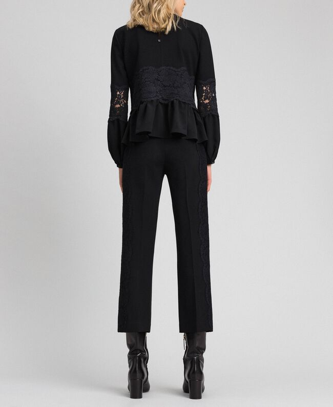 Укороченные брюки с кружевом Белый Снег женщина 192TT2210-03