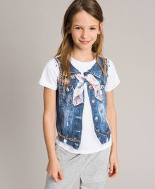 Cotton T-shirt with print and studs White Child 191GJ2381-0S