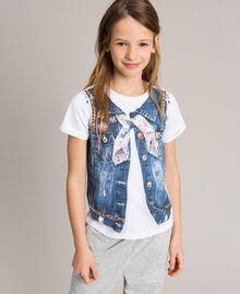 T-Shirt aus Baumwolle mit Aufdruck und Nieten Weiß Kind 191GJ2381-0S