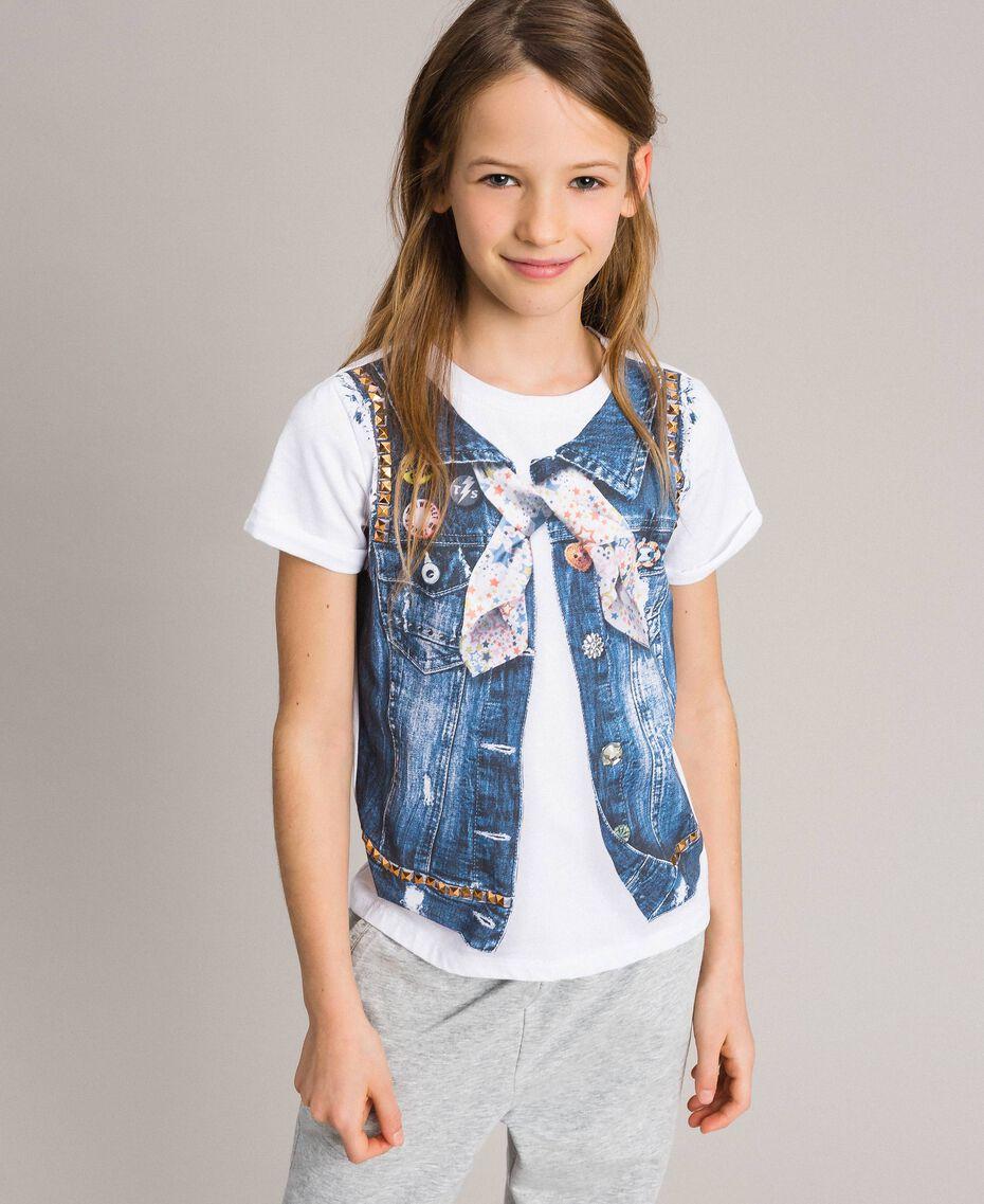 T-shirt en coton avec imprimé et clous Blanc Enfant 191GJ2381-0S