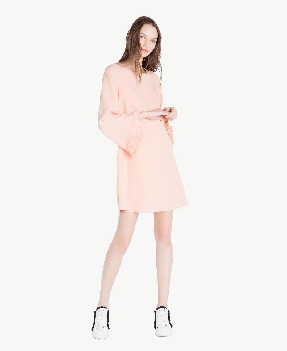 Kleid aus Cady Rosafarbener Sonnenaufgang Frau SS82AC-01