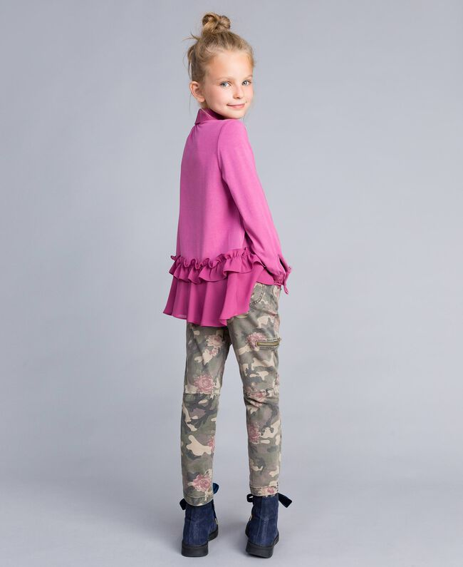 Printed canvas cargo trousers Camouflage Print Child GA82EB-04