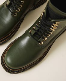 Tie-up leather combat boots Dark Olive Green Woman 202TCP182-02