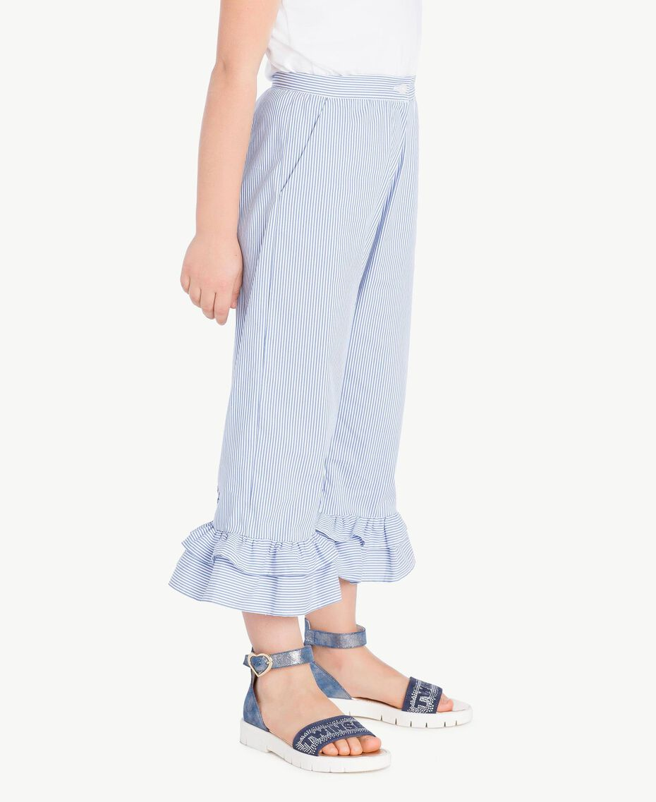 Pantalon popeline Jacquard Grand Bâtonnet Bleu Enfant GS82LT-03