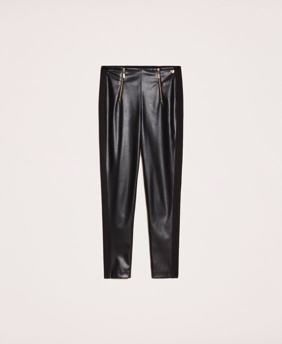 Faux leather leggings with zip