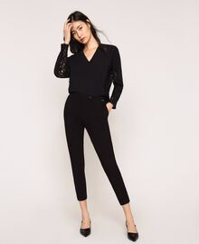 Cigarette trousers with pockets Black Woman 201ST2055-02