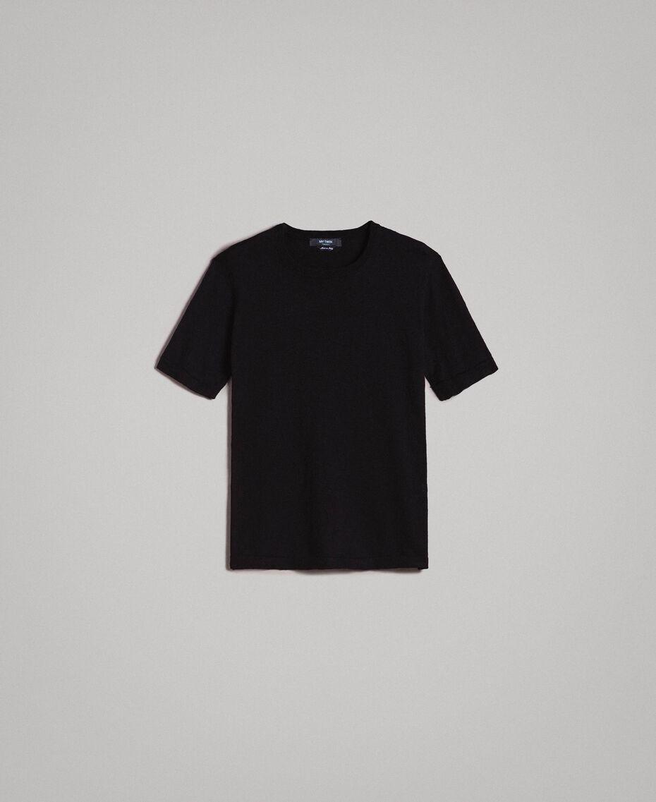 T-Shirt aus Slub-Baumwollmischung Schwarz Mann 191UT3071-0S