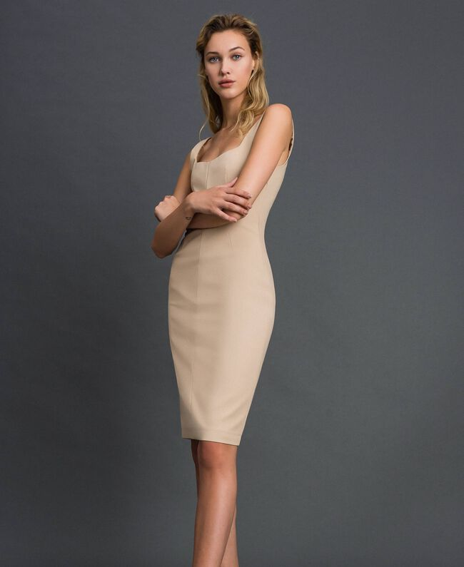 Mid-length sheath dress Cream Woman 999TT2012-01
