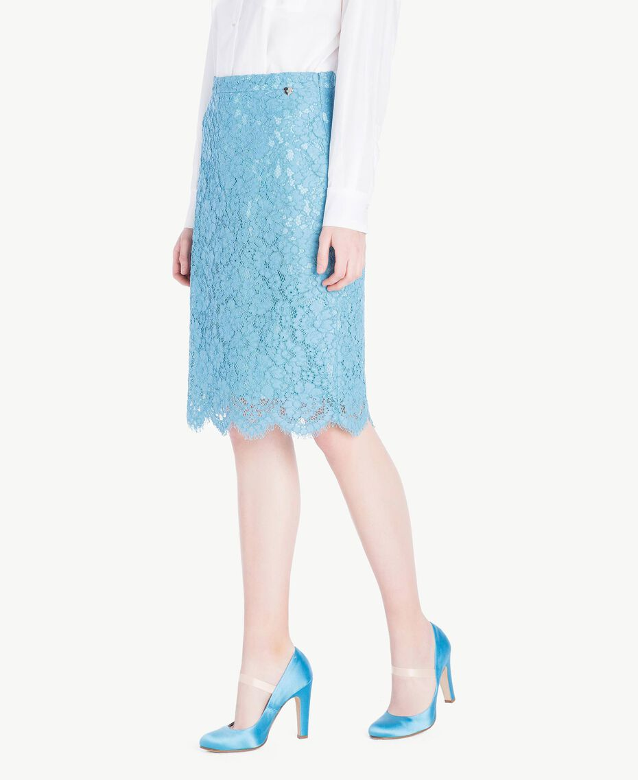 Mid-length lace skirt Oriental Blue Woman PS82XB-02