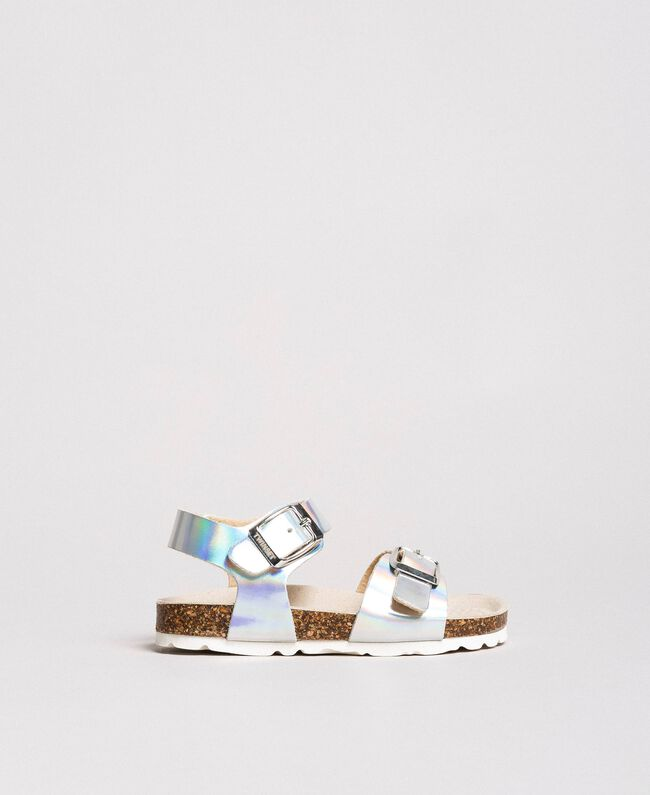 Laminated leather sandals Silver Child 191GCB162-01