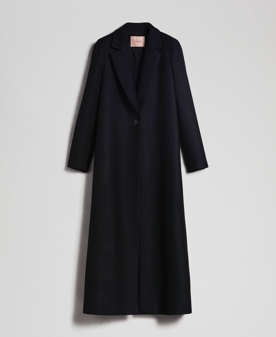 Langer Mantel aus Tuch Schwarz Frau 192TP2313-0S