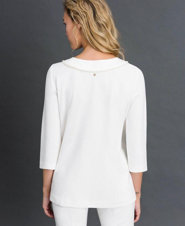 Blusa con ricamo di perle Bianco Neve Donna 192TP2080-03