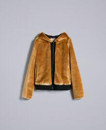 Jacke aus Kunstfell Honig Frau QA8TEN-0S