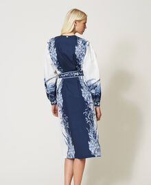 "Poplin shirt dress with print ""Patch Porcelain Blue And White"" Blue Woman 211TT2195-04"