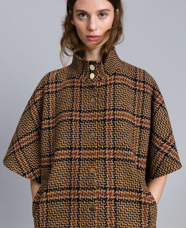 Manteau poncho à grands carreaux Bicolore Carreaux Beige Cookie/ Orange Brûlée Femme TA821C-04