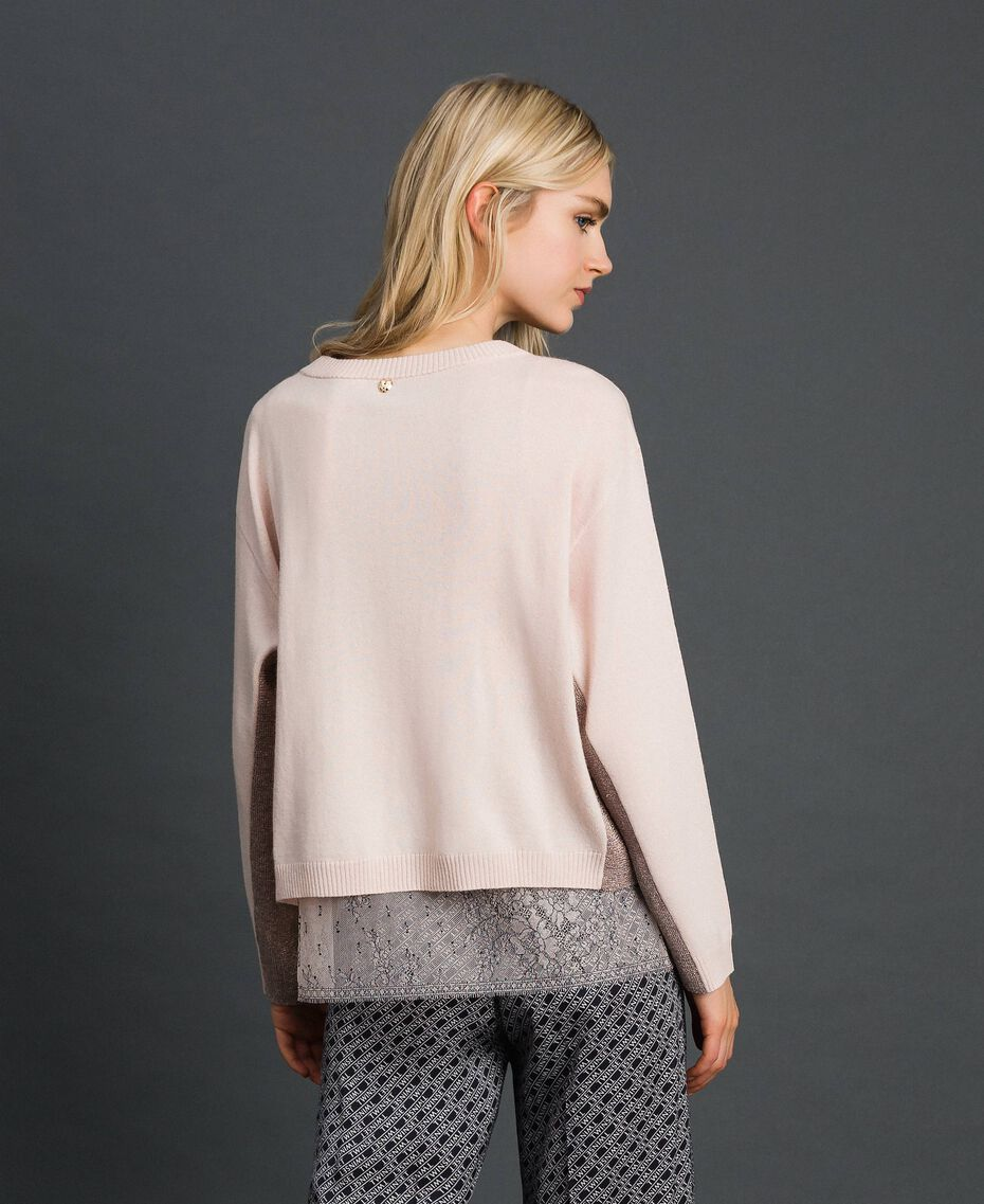 Pull boxy avec top nuisette Rose Bouton Femme 192MP3101-05