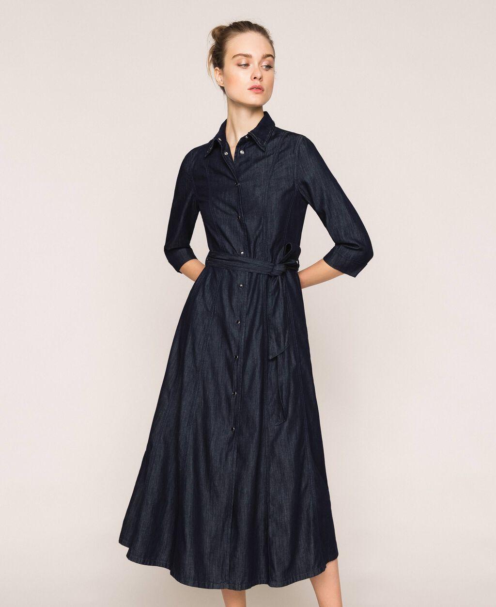 Длинное джинсовое платье-рубашка
