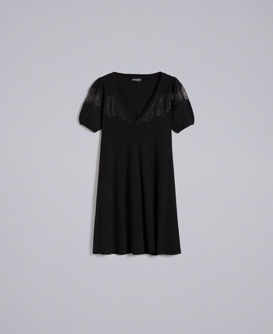 Robe en laine mélangée avec incrustations en dentelle Noir Femme PA83AA-0S