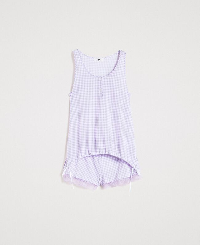 Short gingham print pajamas Lilac Woman 191LL2EDD-01