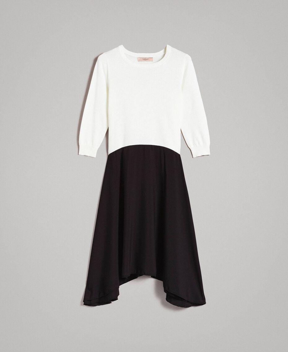 Zweifarbiges, asymmetrisches Kleid Zweifarbig Schneeweiß / Schwarz Frau 191TP3263-0S