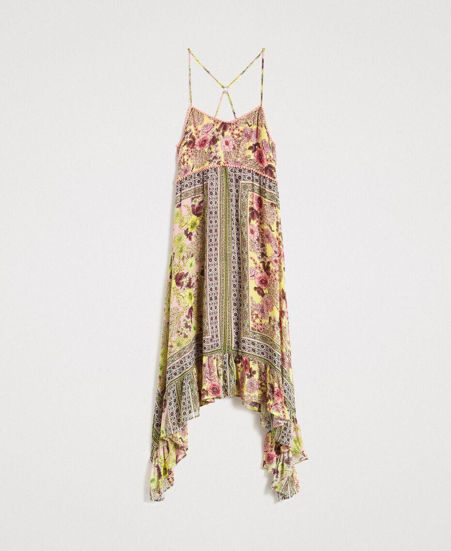 """Chiffon-Kleid mit Schalaufdruck Motiv """"Lemon Juice"""" Gelb Schal Frau 191LB2HEE-0S"""