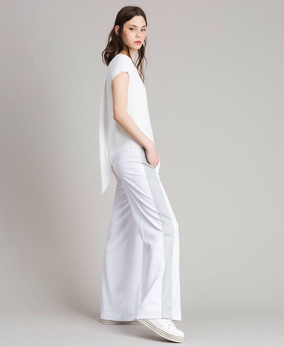 Pantalon palazzo avec panneaux en lurex Blanc Femme 191LL25BB-01