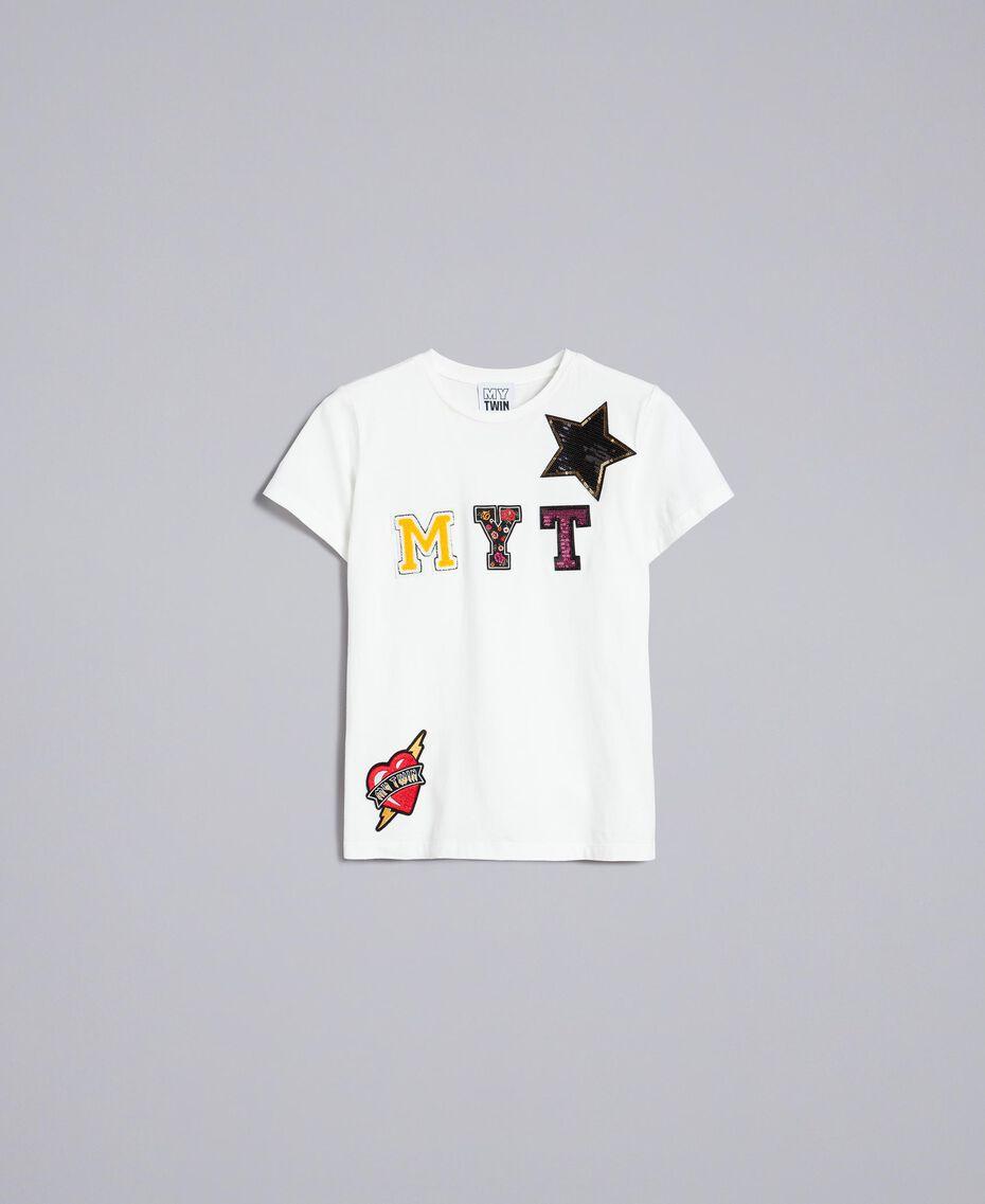 T-shirt en coton avec logo patch Nacre Femme YA82TD-0S