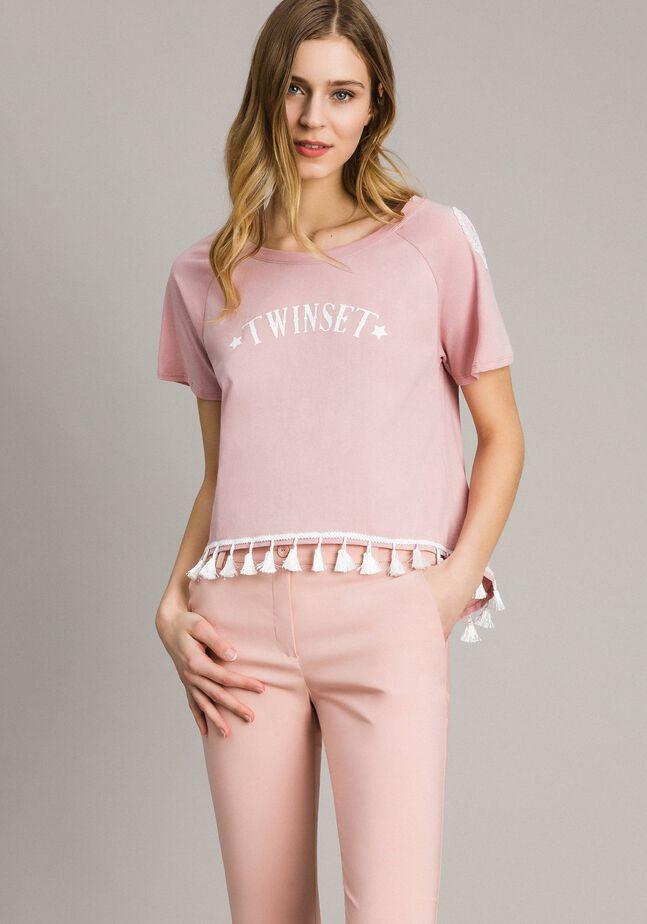 T-shirt with mini tassels