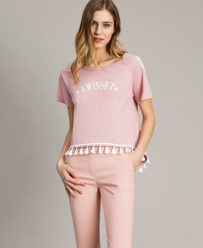 "T-shirt with mini tassels ""Pink Bouquet"" Woman 191LB2CCC-01"