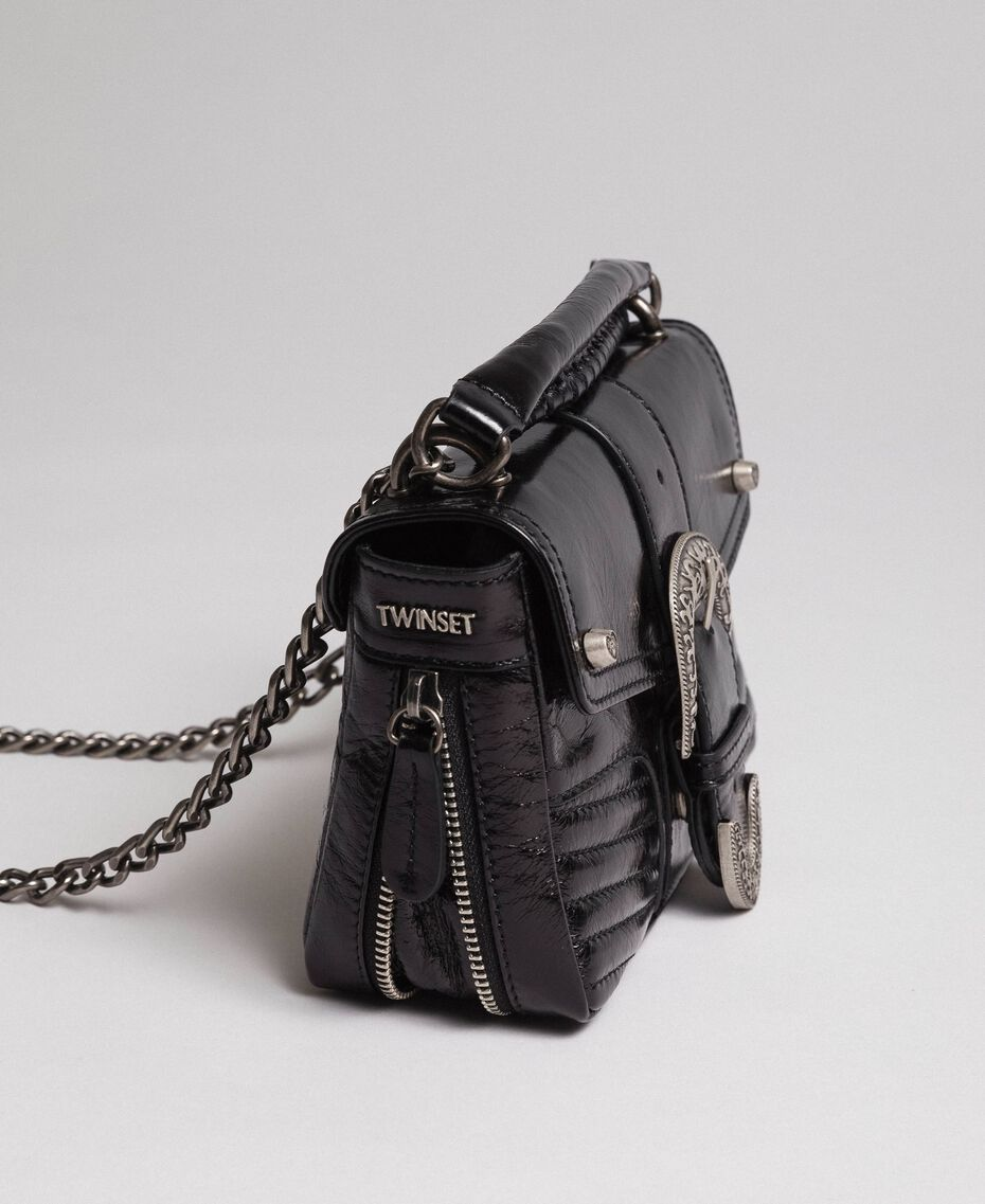 Borsa a tracolla Rebel piccola in pelle Nero Donna 192TO823F-01
