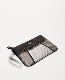 "Multicolour faux leather pochette Multicolour Black / ""Gun Metal"" Grey / Silver Woman 201MA7025-03"