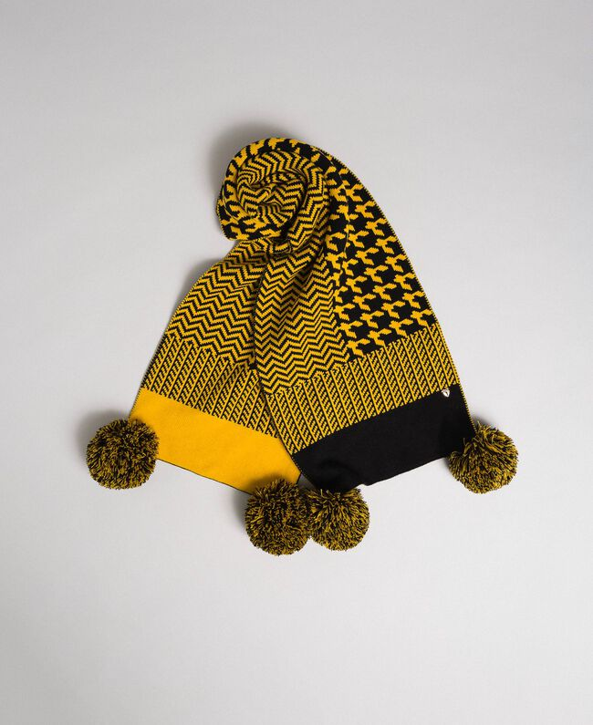 Sciarpa in maglia jacquard con pompon Yellow / Nero Donna 192MO5319-01