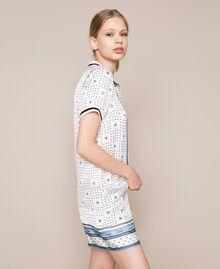 "Short satin pyjamas with logo print Two-tone ""Waterfall"" Blue / Black Woman 201LL28BB-02"