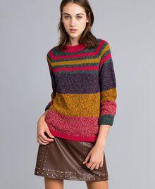 Pull mouliné en color block Multicolore Mouliné Femme YA831B-04
