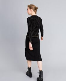Mid-length Milan stitch skirt with ruches Black Woman PA821W-03