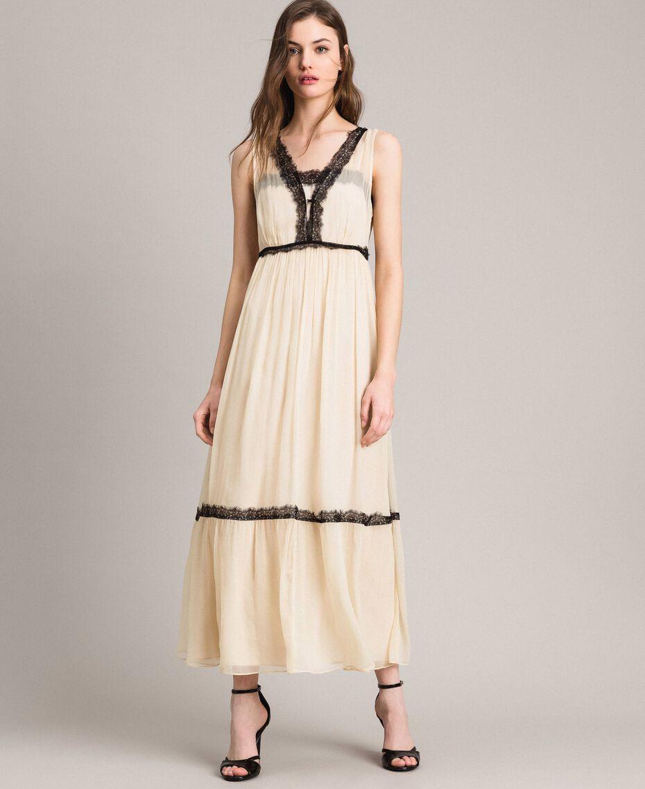 Robe longue en crépon ornée de dentelle Écru Femme 191ST2204-01