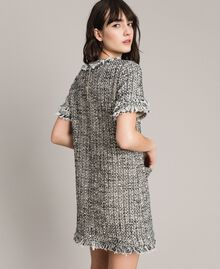 "Fringed tweed tunic dress Two-tone ""Snow"" White Bouclé / Black Woman 191TP2525-04"