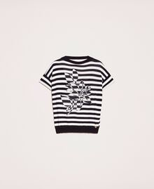 "Two-tone striped jumper with flower Black / ""Snow"" White Stripes Woman 201TP3221-0S"