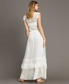 Long skirt with crochet insert Ivory Woman 191LM2NEE-03