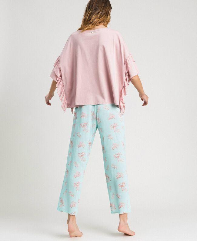Langer Pyjama mit Rüschchen Motiv Blätter Mousse Blau Frau 191LL2FBB-03