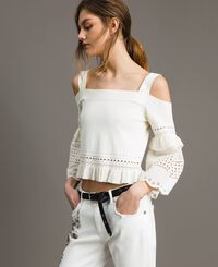 Broderie anglaise embroidery top