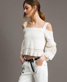 Pullover mit Lochstickereien Weiß Schnee Frau 191TT3011-01