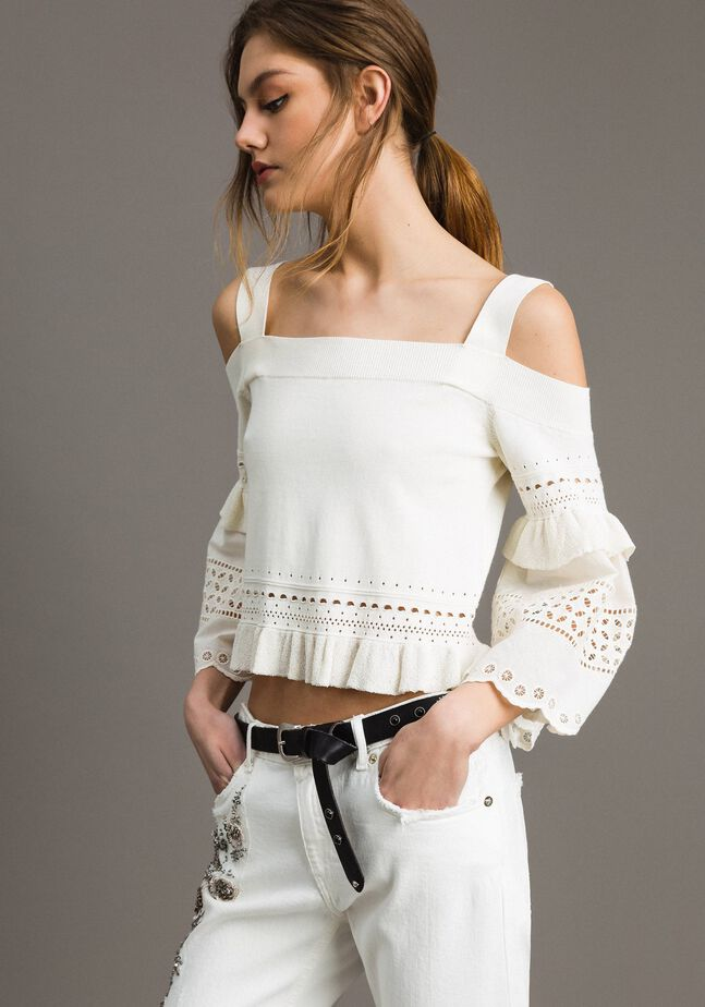 Pull avec broderies anglaises