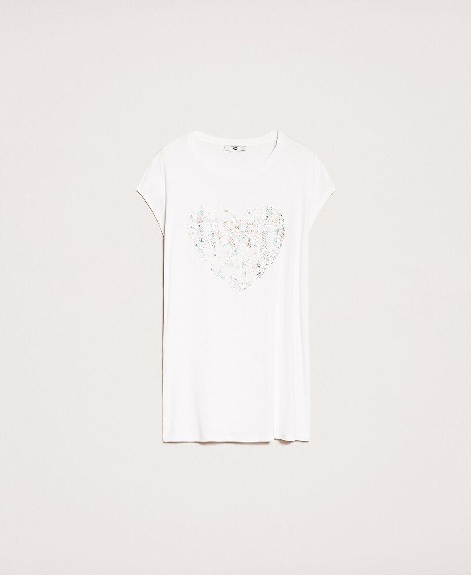 Maxi T-shirt with multicolour rhinestones Ivory Woman 201LB2ADD-0S