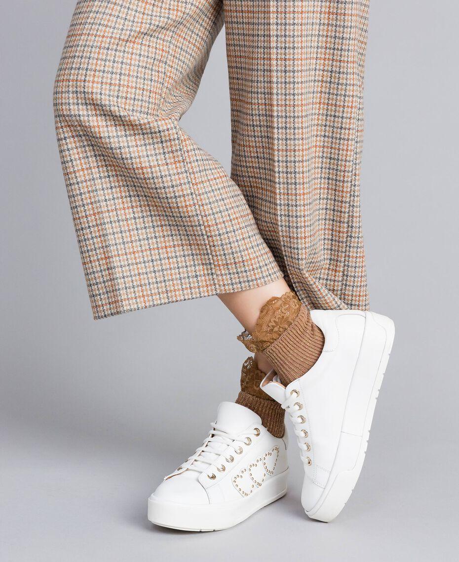 Chaussettes courtes en lurex avec dentelle Beige Cookie Femme OA8T3L-0S