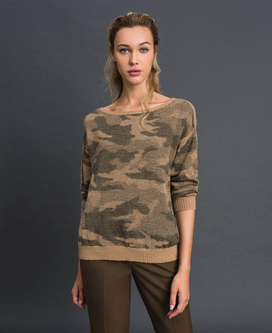 Maglia jacquard a motivo camouflage Stampa Camouflage Donna 192TT3191-02