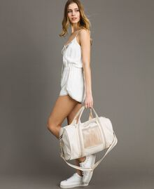 """Canvas and mesh travel bag """"Milkway"""" Beige Woman 191LL49DD-0S"""
