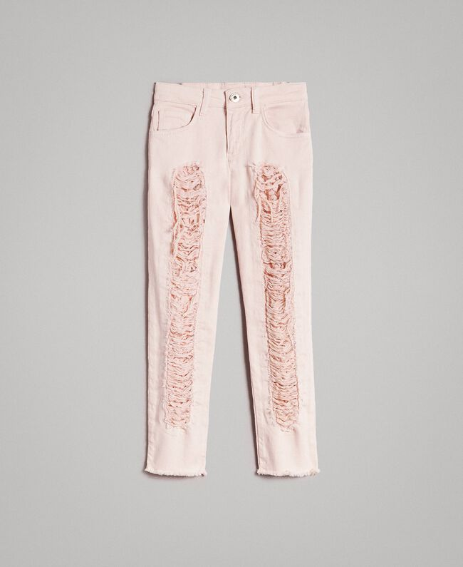 Skinny bull trousers with ripped details Blossom Pink Child 191GJ2061-01