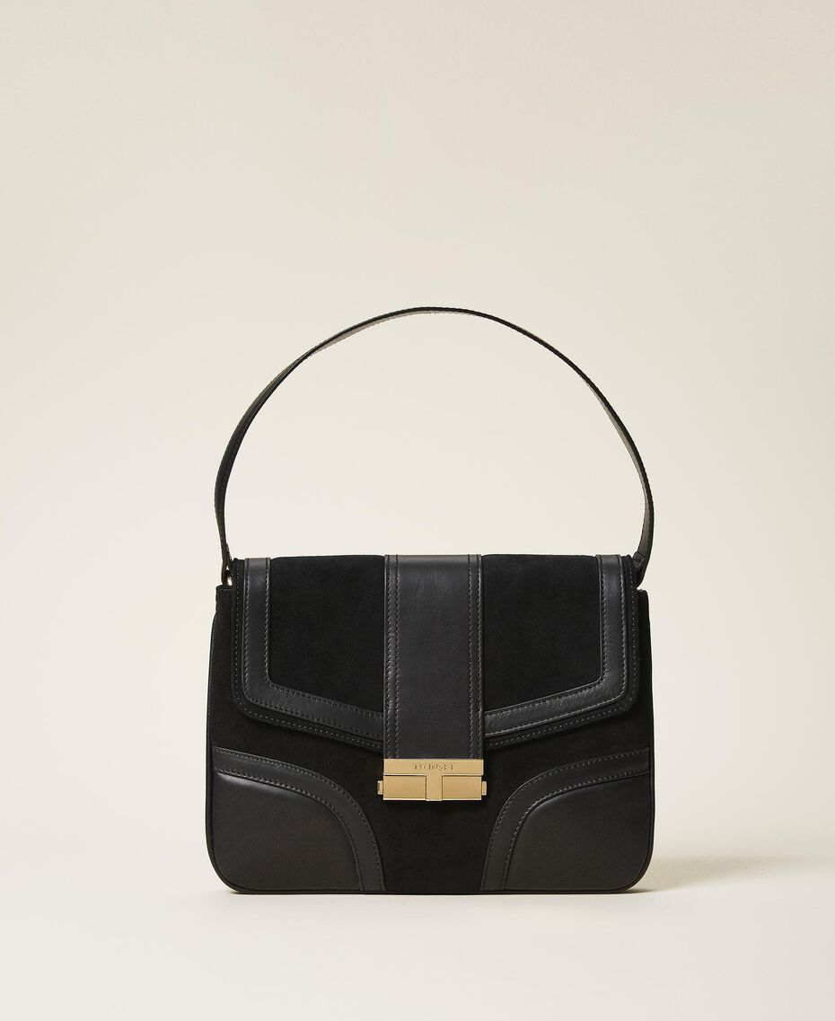 Smooth leather and suede bag Black Woman 202TB7281-01