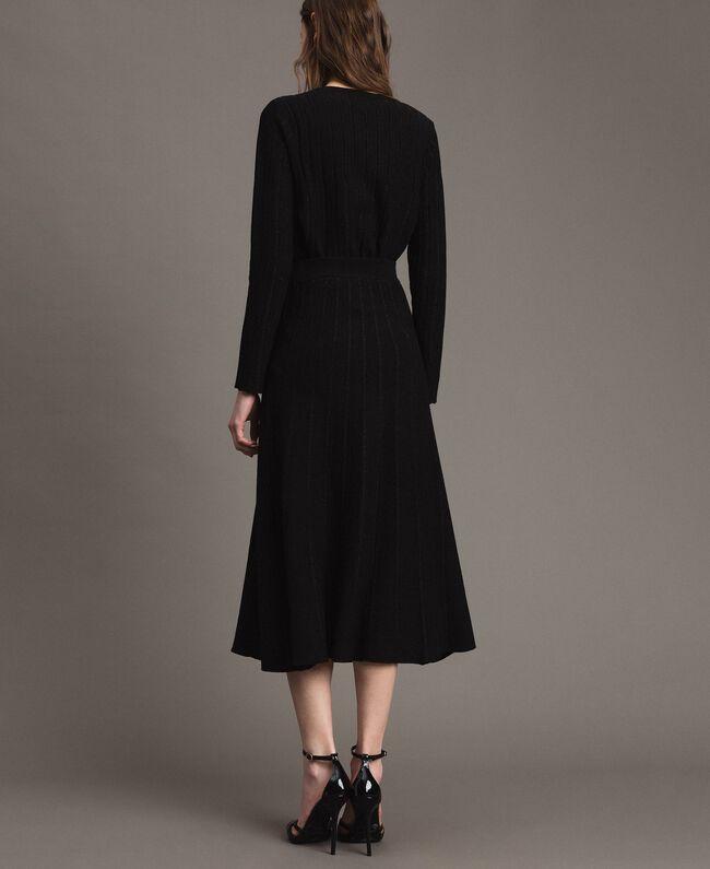 Jupe mi-longue ornée de bandes en lurex Noir Femme 191TP3253-03